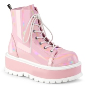 Imitação couro boots 5 cm SLACKER-55 Rosa botinha femininos com cadarco