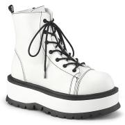 Imitação couro boots 5 cm SLACKER-55 brancas botinha femininos com cadarco