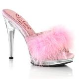 Imitação de couro 12,5 cm GLORY-501F-8 penas tamancos saltos altos rosa