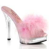 Imitação de couro 13,5 cm MAJESTY-501F-8 penas tamancos saltos altos rosa