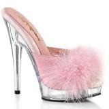 Imitação de couro 15 cm SULTRY-601F penas tamancos saltos altos rosa