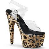 Leopardo 18 cm BEJEWELED-708LP Pedras Brilhando calçados femininos salto alto