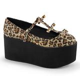 Leopardo lona 8 cm CLICK-08 sapatos lolita gotico calçados solas grossas