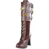 Marrom 10 cm CRYPTO-302 plataforma botas mulher com fivelas