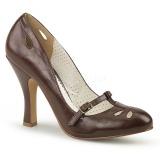 Marrom 10 cm SMITTEN-20 Pinup sapatos scarpin com saltos baixos