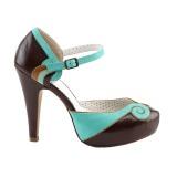 Marrom 11,5 cm BETTIE-17 Pinup sapatos scarpin de plataforma oculta