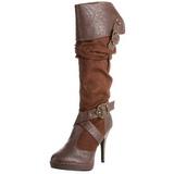 Marrom 11,5 cm CARRIBEAN-216 plataforma botas mulher com fivelas