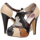 Marrom 11,5 cm retro vintage BETTIE-19 calçados femininos com salto alto