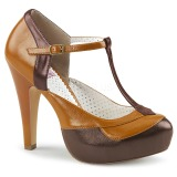 Marrom 11,5 cm retro vintage BETTIE-29 Pinup sapatos scarpin de plataforma oculta