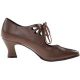 Marrom Fosco 7 cm VICTORIAN-03 Sapatos Scarpin Femininos