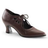 Marrom Fosco 7 cm retro vintage VICTORIAN-03 Sapatos Scarpin Femininos