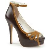 Marrom Imitação Couro 13,5 cm BELLA-31 sapatos scarpin aberto na frente