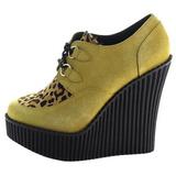 Marrom Imitação Couro CREEPER-304 sapatos creepers cunha altos