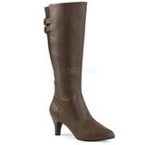Marrom Imitação couro 7,5 cm DIVINE-2018 numeros grandes botas mulher