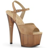 Marrom Imitação de couro 18 cm ADORE-709T sandálias pleaser com plataforma