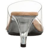 Marrom Transparente 8 cm BELLE-301 Tamancos Altos para Homens