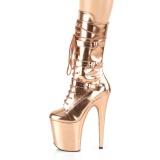 Metálico 20 cm FLAMINGO-1053 plataforma botas fivelas ouro