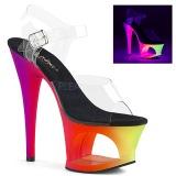 Multicolorido 18 cm MOON-708UV Sandálias Plataforma Neon