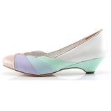 Multicolorido 4 cm LULU-05 Pinup sapatos scarpin com saltos baixos
