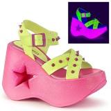 Neon 13 cm Demonia DYNAMITE-02 sandálias de cunha plataforma