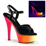Neon 15 cm Pleaser RAINBOW-209UV sapatos de saltos pole dance