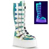 Neon 9 cm DAMNED-318 plataforma botas mulher com fivelas