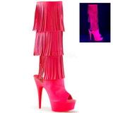 Neon Imitacao de couro 15 cm DELIGHT-2019-3 botas com franjas salto alto