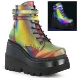 Neon arco íris 11,5 cm SHAKER-52 botinha plataforma cunha alto lolita