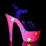 Neon brilho 18 cm Pleaser ADORE-708STR sapatos de saltos pole dance
