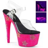 Neon pedra de strass 18 cm ADORE-708STAR sapatos de saltos pole dance