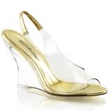 Ouro 10,5 cm LOVELY-450 Sandália com salto de cunha