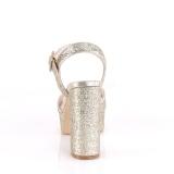 Ouro 11,5 cm CELESTE-09 sandálias com salto grosso brilhantes