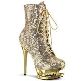 Ouro 15,5 cm BLONDIE-R-1020 botinha femininos com cadarco salto alto em lantejoulas