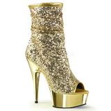 Ouro 15 cm DELIGHT-1008SQ botinha mulher com lantejoulas