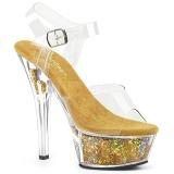 Ouro 15 cm KISS-208GF brilho plataforma sandálias mulher