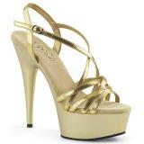 Ouro 15 cm Pleaser DELIGHT-613 Sandálias de salto alto