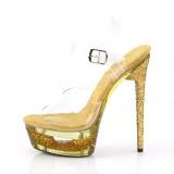 Ouro 16,5 cm ECLIPSE-608GT Sandálias Salto Agulha