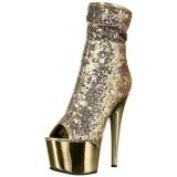 Ouro 18 cm ADORE-1008SQ botinha mulher com lantejoulas