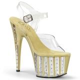 Ouro 18 cm ADORE-708VLRS Plataforma sapatos de salto com strass