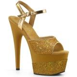 Ouro 18 cm ADORE-709-2G brilho plataforma sandálias mulher