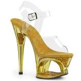 Ouro 18 cm MOON-708GFT brilho plataforma sandálias mulher