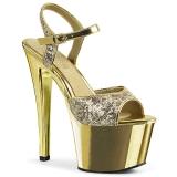 Ouro 18 cm Pleaser SKY-310SQ sapatos de salto alto lantejoulas
