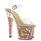 Ouro 18 cm RADIANT-708BHG Holograma plataforma salto alto mulher