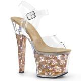 Ouro 18 cm RADIANT-708HHG Holograma plataforma salto alto mulher