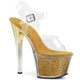 Ouro 18 cm SKY-308G-T brilho plataforma sandálias mulher