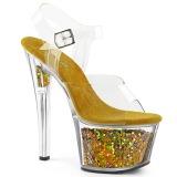 Ouro 18 cm SKY-308GF brilho plataforma sandálias mulher