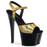 Ouro 18 cm SKY-309HG Holograma plataforma salto alto mulher