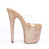 Ouro 20 cm FLAMINGO-801LG brilho plataforma tamancos mulher