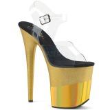 Ouro 20 cm FLAMINGO-808-2HGM brilho plataforma sandálias mulher