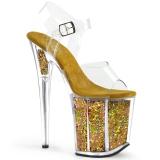 Ouro 20 cm FLAMINGO-808GF brilho plataforma salto alto mulher